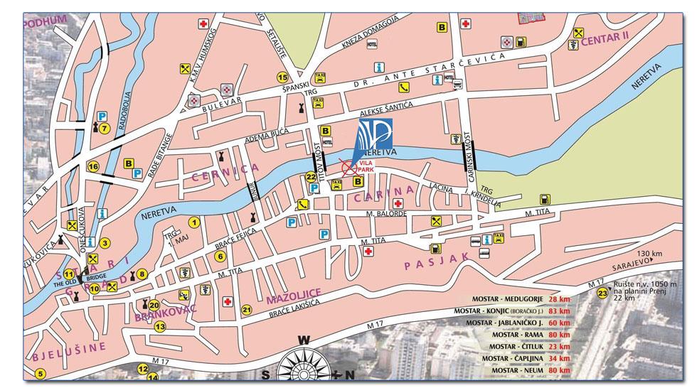 mostar mapa Vila Park Mostar mostar mapa